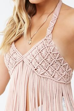Product Name:Macrame Fringe Halter Top, Category:top_blouses, Macrame Dress, Macrame Bag, Halter Tops, Boho Fashion, Fashion Dresses, Fashion Design, Crochet Wedding, Macrame Design, Macrame Patterns