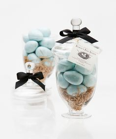 Robin's Egg Soaps in Large Apothecary Jar - Coordinate a charming woodland-themed, vintage-inspired display into your springtime bath, or continue a low-key palette in your kitchen, with this glass apothecary jar packed with tempting soaps in a sweet Robin's Egg design. The sixteen speckled blue eggs which are nestled inside the clear glass jar provide months of luxury hand-washings with a lovely scent of chamomile and meadowsweet.