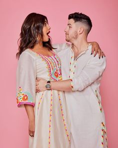 Nick Jonas celebrated his first ever Holi at Isha Ambani's Holi party on Friday evening and had a blast. Guiding Nick though the Holi rituals was wife Priyanka Chopra, who is one of Isha Ambani's closest friends. Nick Jonas Wife, Priyanka Chopra Wedding, Khadi Kurta, Holi Party, Embroidery Suits Punjabi, Looking Gorgeous, Beautiful, Perfect Match, Bollywood Actress