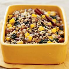 Wild Rice and Squash Dressing | Notes: If making up to 1 day ahead, cool, cover, and chill. Reheat, covered, in a microwave-safe container in a microwave oven at full power (100%), stirring occasionally, until hot, 5 to 6 minutes. Or bake, covered, in a shallow 2 1/2- to 3-quart casserole in a 325° oven (350° if baking with a turkey at that temperature), stirring once or twice, until hot in the center, about 1 hour.