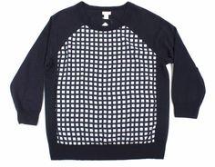 NWT J.CREW L Merino wool Polyester-panel Women's sweater Large 3/4 sleeve Navy #JCrew #Crewneck