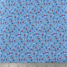Tiny Floral on Blue Cotton Calico Fabric