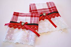 Red & White Kitchen Towels Tea Towels by CinnamonStixSundries, $18.00