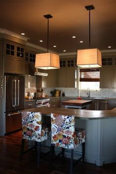 """...hand poured concrete counter tops and a home-made butcher block island that we constructed out of strips of maple wood"" #kitchen"