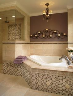 replacing rectangular whirlpool tub with corner tub. Love the lighting.