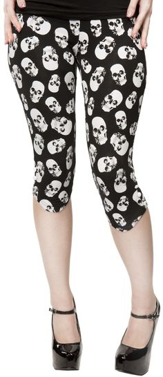 Sourpuss Skull Capri Leggings Pants Gothic Punk Metal Psychobilly Rockabilly | eBay