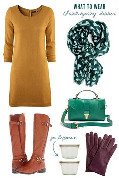 "What To Wear: Thanksgiving Dinner ""...a sweater dress, tights, riding boots and a couple of colorful jewel-toned accessories are where it's at for me."""