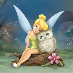 """Owl Always Love You,"" a new treasure that captures Tinker Bell's sweet side as she cuddles with her owl companion while celebrating the precious gift of friendship! Master Craftsmen hand-sculpt ""Owl Always Love You"" in intricate detail, from Tink's tender smile and her famous little green dress to her crystalline wings. Using delicate brushes, artists hand-paint Tink, her enchanted baby owl friend and their woodland surroundings to bring you a picture-perfect portrait of lasting friendship."