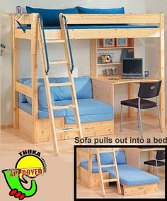 Thuka Maxi 29 Loft Bed with Desk and Sofa Bed Thuka Maxi 29 Hochbett mit Schreibtisch und Schlafsofa Bunk Bed With Desk, Bunk Beds With Stairs, Kids Bunk Beds, Loft Bed With Couch, Loft Bed Desk, Loft Twin Bed, Couch Bunk Beds, Desk Under Bed, Adult Loft Bed