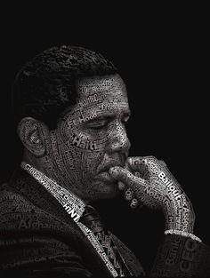 """Obama Typograhy Portrait """"Burdened"""""""