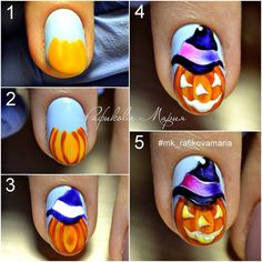There are many easy Halloween nails tutorials out there, and sometimes it may get confusing on what to pick. So, we simplified that process for you! Holloween Nails, Halloween Acrylic Nails, Diy Nails, Cute Nails, Pretty Nails, Fall Nail Art Designs, Halloween Nail Designs, Theme Halloween, Easy Halloween