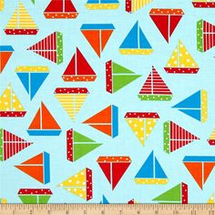 Kaufman Sea and Sun by Ann Kelle Sailboats Pacific from @fabricdotcom  Designed by Anne Kelle for Kaufman Fabrics, this cotton print is…