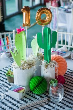 Super ideas for baby shower ideas decoracion cactus Fiesta Party Decorations, Fiesta Theme Party, Festa Party, Party Centerpieces, Birthday Decorations, Mexican Decorations, Table Decorations, 10th Birthday Parties, Birthday Table