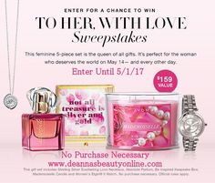 Would you like $159 in #free Avon? Try your hand at the #Avon #Sweepstakes April 2017, To Her With Love! No purchase is necessary.