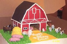 Homemade Barnyard Birthday Cake: I made this Barnyard Birthday Cake for a friend of mine at work who wanted her granddaughter to have a Special Barn Cake.  I could have constructed the
