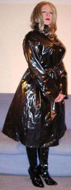 Black PVC Raincoat #RaincoatsForWomenRainCoats