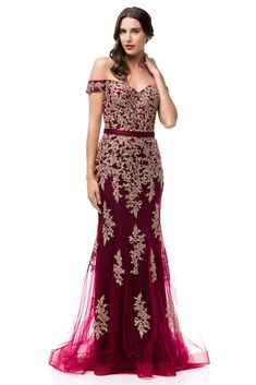 ade76559bd3 Oscar Off Shoulder Burgundy   Gold Mermaid Tulle Evening Gown Long Pro – Frugal  Mughal Colored