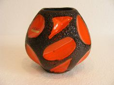 Orange Roth Keramik 313 Fat Lava vase by RetroVases on Etsy