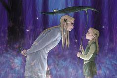 Thranduil and Legolas in rain