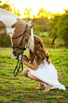Senior picture idea...love the barefeet, kissing their horse, cattle, dog, etc...  late afternoon, backlit...