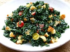 kale salad with creamy lemon dressing, chopped grilled veggie salad, spinach and quinoa salad with feta and dill