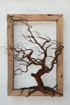 Decoración Arte Objeto Cuadro árbol Alambre Ironpig