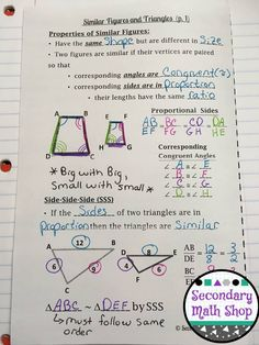 Similarity - Similar Figures & Triangles Properties Interactive Notebook PagesIn this fantastic set of Interactive Notebook Pages you will find two separate pages - one for properties of similar figures and SSS, the other for SAS and AA (double printed so students will get half a page) that include the definition, a labeled diagram and an example using that method.
