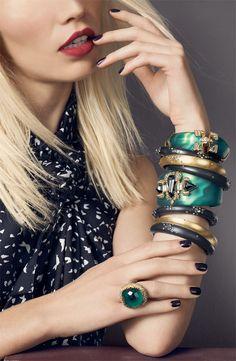 Alexis Bittar 'Siyabona' malachite cushion ring, 'Teatro Moderne' bracelet, Smoky Dust small hing bracelets (Nordstrom Exclusive), & dust skinny tapered bracelets #Nordstrom