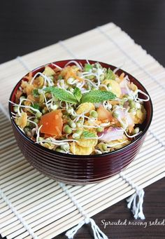 Moong sprouts salad recipe - healthy sprouted moong salad recipe, Learn how to make tasty and crunchy salad. Made using sprouts and fresh vegetables Oats Recipes Indian, Ethnic Recipes, Indian Salads, Millet Recipes, Healthy Salad Recipes, Yummy Recipes, Sprouts Salad, Sprout Recipes, Health