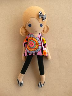 Fabric Doll Rag Doll Blond Haired Girl in Bright by rovingovine