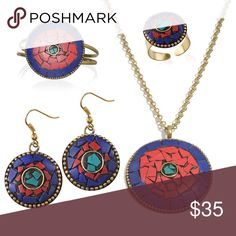 """BoHo Chic Round 4 Piece Set BoHo Chic 4 Piece Set Round set includes Cuff, Earrings, Ring (Adjustable) and Pendant With Chain (16-18 in). OSFM. Earrings and ring are 1"""" Diam., Cuff and Pendant are 2"""" Diam. Lobster claw clasp on pendant chain allows for great flexibility using the chain links. Jewelry"""