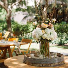 Rustic Wildflower Centerpieces. Outdoor country wedding.