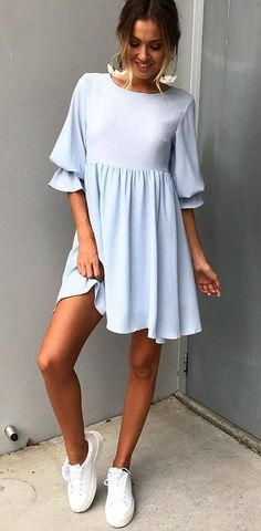 incredible summer outfit / blue dress and sneakers