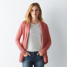 Layer this women's SONOMA Goods for Life cardigan over your favorite graphic tees for a trendy, laidback look. Coral Cardigan, Sonoma Goods For Life, Graphic Tees, Sweaters, Medium, Red, Fashion, Moda, Fashion Styles