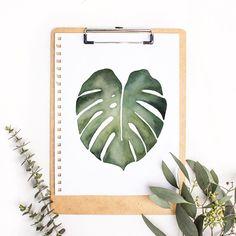 Monstera plants, watercolor plants, plants wall, watercolor art
