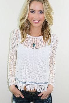 Kane Sweater- Love this beachy sweater. Fringe sweater. Sold by Unhinged Boutique. www.unhingedboutique.com