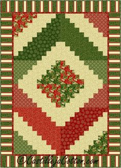 Christmas Log Cabin Quilte Pattern 2418-11e | Craftsy