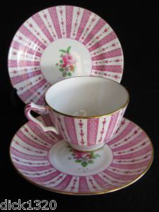 CROWN STAFFORDSHIRE F15857 HAND-PAINTED CHINA TRIO 1930's - I think I'd love this in pale blue, green or lavender...