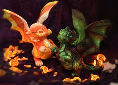 Candy Corn and Zombie dragons by The-SixthLeafClover.deviantart.com on @deviantART