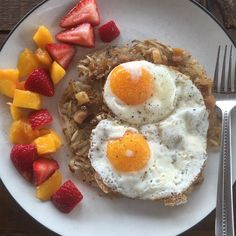 """Don't hate on my potatoes. They're organic at least . It was the only produce I had left. Off to get more today.  # Crispy hash browns fried in coconut oil, caramelized leeks and free range soy free eggs.  Mango and strawberries.  #freerangeeggs #paleo #paleoish #paleomom #paleohope #paleobreakfast #cleaneating #dairyfree #eatrealfood #eattherainbow #foodforhealth #organic #grainfree #glutenfree #soyfree #nutfree #jerf #nutrients #breakfast #yolkporn #potatoesftw"" Photo taken by @paleohope"
