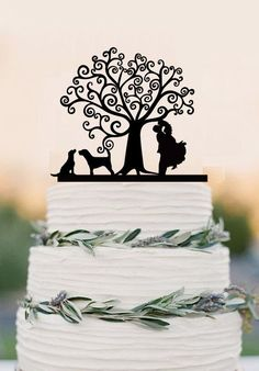 Wedding Cake Topper With Two Dogs Bride And Groom Silhouette Topper We – DokkiDesign