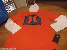 Boy's 2 toddler 2T Hurley long sleeve T shirt hoodie blaze orange NEW surf skate  1