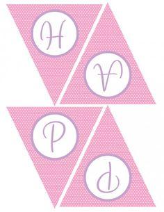 free girl birthday pink purple printable banner
