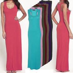 4284876fb7 Womens Ladies Jersey Long Summer Vest Racer Muscle Back Maxi Dress Plus  Size8-26 Dress