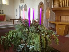 Holy Trinity, Dunoon, has quite the most exuberant Advent wreath I've seen. Church Altar Decorations, Church Christmas Decorations, Church Crafts, Christmas Candles, Candle Decorations, Centerpieces, Advent Catholic, Catholic Churches, Advent Wreath Candles