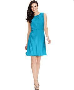 Graduation? Jessica Simpson Dress, Sleeveless Pleated Lace-Trim - Womens Dresses - Macy's