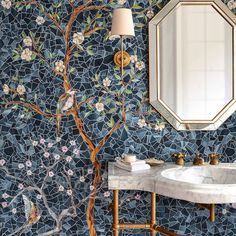 Chinoiserie, a handmade mosaic. House Design, Chinoiserie, Decor, Interior Design, Home, Interior, Round Mirror Bathroom, World Of Interiors, Brass Wall Light