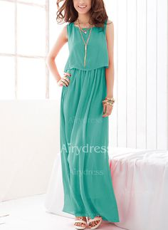 Dress - $17.24 - Chiffon Solid Sleeveless Maxi Casual Dresses (1955129465)