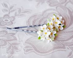 Hairgrip White Lilac  Polymer Clay Flowers by SaisonRomantique $17.00 USD