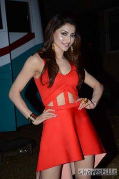 Urvashi Rautela Looking hot in Orange dress at Promotion of film Sanam Re